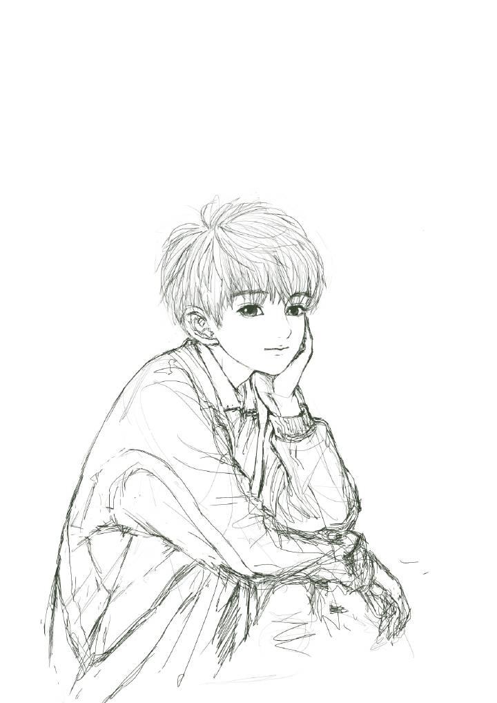 王源素描简笔画步骤铅笔画