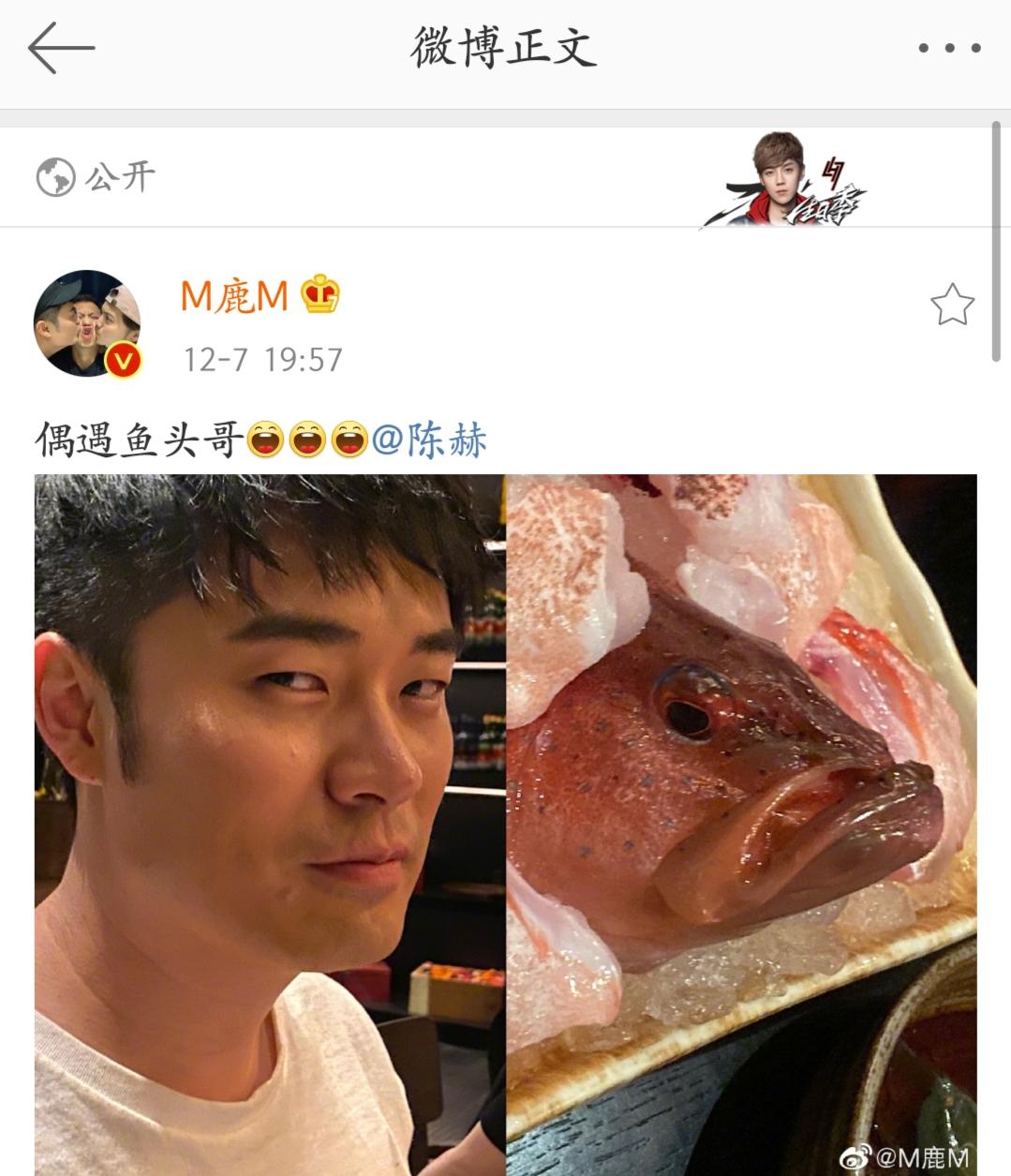 [新闻]191208 鹿晗陈赫微博开启互怼模式 虾头仔和鱼头哥的爱恨情仇